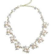 Ladies Wedding Bridal Party Jewellery Rhinestone Flower Pearl Necklace Gold Tone