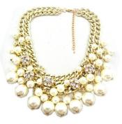 Wiipu white Rhinestone Layered Cluster Ball Beads Drop Chunky Statement Bib Necklace