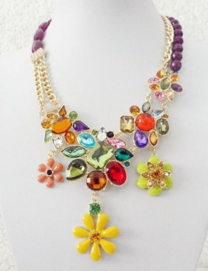 2013 new luxurious rhinestone & crystal flower necklace,fashion necklace,bubble Bib Necklace(wiipu-B85)