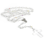 6mm White. Crystal Rosary Necklece