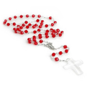 6mm Red. Crystal Rosary Necklace