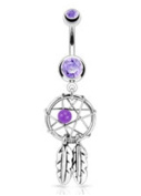 Purple Dream Catcher Belly Ring Dream Catcher Woven Star Design-Bead & Feathers Fancy Navel Ring 14G