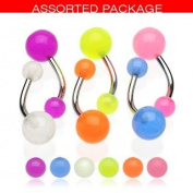 Body Accentz. Glow in Dark Belly Rings Set of 6 Navel Rings Body Jewellery Piercing Bar Ring Rings 14g