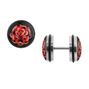 Body Accentz. Earrings Rings Fake Rose Cheater Plug 16 gauge - Sold as a pair