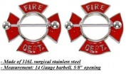 Body Accentz Nipple Ring Bars Fire Department Body Jewellery Pair 14 gauge