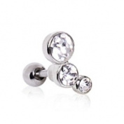 3 Clear Round CZ Gems Barbell Tragus Cartilage Ring Steel Piercing Bar 16G 0.6cm
