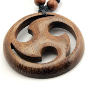 Treskelion in a Circle Pendant with Adjustable Black Cotton Cord Necklace