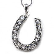 Luky Horseshoe Horse Shoe Charm Pendant Necklace Western Cowgirl High Polish Silver Tone Ladiesashion Jewellery