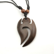 Maori Wave Pendant with Adjustable Black Cotton Cord Necklace