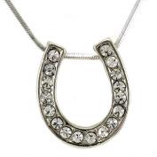 Horseshoe Pendant Necklace Lucky Western Cowgirl Horse Shoe Charm High Polish Silver Tone Ladies Women Fashion Jewellery