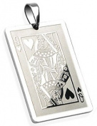 Queen of Hearts Playing Card Necklace Pendant