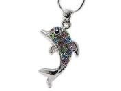 Multi colour Crystal Stud Dolphin Pendant Necklace