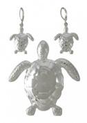 Chrome Plated Sea Turtle Pin / Pendant & Earrings Set