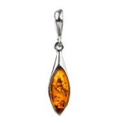 Sterling Silver Amber Marquise Shape Pendant