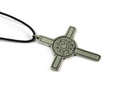 Tudor Rose Cross Talisman Pewter Pendant on Corded Necklace