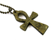Egyptian Ankh Antique Gold Brass Pendant with Hieroglyphic Carvings 2.5cm , on Ball Chain Necklace, ne-462