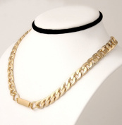 Gold plated Necklace, Chain link with Engraving Plate. Designed for both men and women.