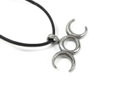Balance of Life, Wiccan Triple Moon Pewter Pendant