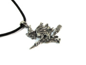 Wiccan Witch on Broomstick Pewter Pendant with Corded Necklace