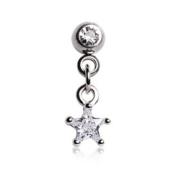 Chained Clear Gem Star & Round Gem Barbell Tragus Cartilage Dangle Ring Steel Piercing Bar 16G 0.6cm