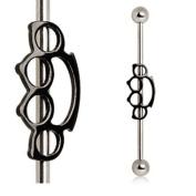Stainless Steel Silver & Black Brass Knuckles Industrial Barbell Straight Ear Piercing Bar 14G 3.8cm