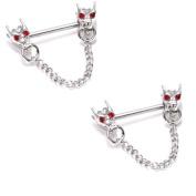 Body Accentz Nipple Ring Bars Dragon Heads Body Jewellery Pair 14 gauge sold as pair