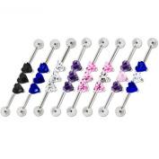 """316L Surgical Steel Straight Industrial Barbell with Pink Interchangeable 3 Heart CZ Gems -14g (1.6mm), 1 1/2"""" Length - Sold Individually"""