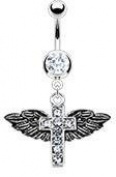 Body Accentz Belly Button Ring Navel Cross Angel Wings Body Jewellery 14 Gauge Ho562