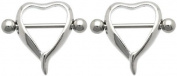 Body Accentz Nipple Ring Bars Heart Body Jewellery Pair 14 gauge