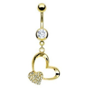 Gold Plated Belly Ring with Gold Plated Gem Pave Heart and Heart - 14G - 1cm Length - Sold Individually