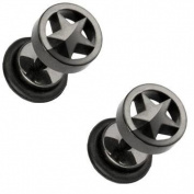Body Accentz. Earrings Rings Fake Star Cheater Plug 16 gauge - Sold as a pair HO647