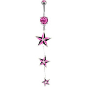 "316L Surgical Steel Pink Prong Set Belly Ring with Triple Nautical Star Drop -14g (1.6mm), 3/8"" Length - Sold Individually"