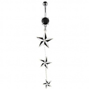 "316L Surgical Steel Black Prong Set Belly Ring with Triple Nautical Star Drop -14g (1.6mm), 3/8"" Length - Sold Individually"