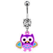 "316L Implant Grade Surgical Steel Clear Prong Set Navel/Belly Ring with Dangling Coloured Owl - 14g (1.6mm), 3/8"" (10mm) Length - Sold Individually"