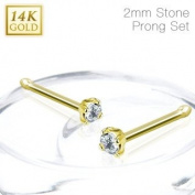 Body Accentz 20GA 14 Karat Solid Yellow Gold Nose Stud Ring with 2mm Prong Set Clear CZ