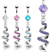 316L Surgical Steel Belly Ring with Clear Gem Paved Swirl Dangle - 14G - 1cm Bar Length - Sold Individually