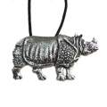 The Indian Rhino Pewter Pendant on Corded Necklace, Endangered Species
