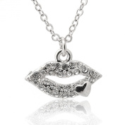 Silver Plated Crystal Lip with Heart Necklace