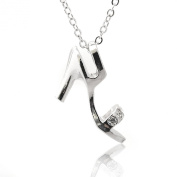 Silver Plated Crystal High Heel Necklace
