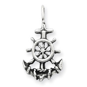 Sterling Silver Antiqued Anchor & Ship's Wheel Pendant