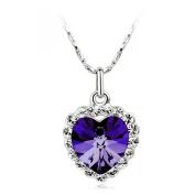 LOCOMO Women Pendant Charm Chain Necklace Mini Titanic Heart Of Ocean Bling Rhinestone Crystal Purple Stone JNK059PUR