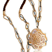 LOCOMO Women Pendant Chain Necklace Yellow Gold Plated Hollow Rose Flower Bling Rhinestone Crystal JNK052GOL