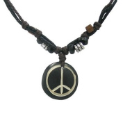 Black Circle Necklace with Peace Sign