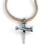 Forgiven Jewellery 260597 Necklace Smooth 3 Nail Cross Pewter 46cm . Suede Cor