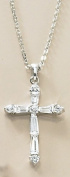 Bay Studio Cubic Zirconia Cross Necklace SILVERTONE