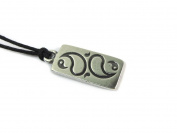 Act Without Doing, Zen Pewter Pendant on Corded Necklace