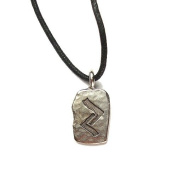 Rune Khor Pewter Pendant on Corded Necklace, Ancient Runes Collection