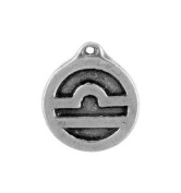 Libra the Scales, Zodiac Talisman Pewter Pendant on Corded Necklace