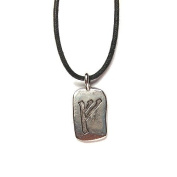 Rune Feoh Pewter Pendant on Corded Necklace, Ancient Runes Collection