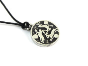 Hare Trinity, ZEMI Ancient Amulet Pewter Pendant on Corded Necklace